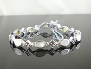 Elegant Silver and Marcasite Bracelet with Mother of Pearl