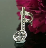 Silver and Marcasite Note Pin