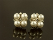 Silver & Marcasite Four Pearl Stud Earrings