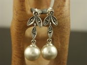 Silver and Marcasite Long Drop Pearl Earrings
