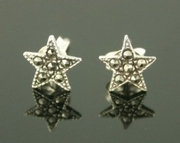 Small Silver and Marcasite Star Stud Earrings