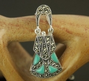Silver Marcasite and Turquoise Pomander / Locket