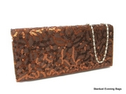 Brown Sequin Clutch Bag