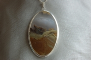 Oval Silver Pendant with Agate and Jasper - Product Code PS343126