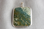 Square Silver Pendant with Green Jasper - Product Code PS381122
