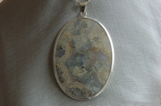 Oval Silver Pendant with Moss White Agate - Product Code PS341125