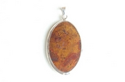 Oval Silver Pendant with Red & Brown Jasper - Product Code PS386135