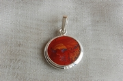 Round Silver Pendant with Red Jasper -  Product Code PS38092