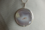 Round Silver Pendant with Smoky Agate - Product Code PS33261