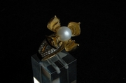 Gold Ring with 32 Diamonds & 1 Pearl - UK size P 1/2 - Product Code RYG300206