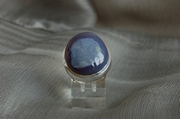 Oval Silver Ring with Blue Smoky Agate  - Size N  - Product Code RS33330