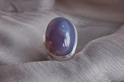 Oval Silver Ring with Blue Smoky Agate  - Size N 1/2  - Product Code RS33331