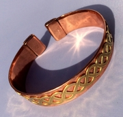 Non Magnetic Copper Band with Brass Celtic Twist Bracelet
