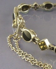 Elegant Silver and Marcasite Bracelet with Black Onyx