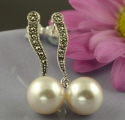 Pearl Silver and Marcasite Elegant Long Drop Earrings
