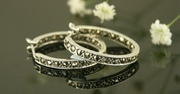 Silver and Marcasite Round Hoop Earrings