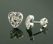 Marcasite and Silver Heart Stud Earrings