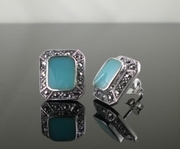Marcasite Silver and Turquoise Elegant Stud Earrings