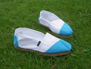 Alpargatas polo shoe (white and turquoise split)