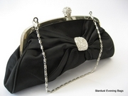 Stunning Black Satin Evening Bag - Clutch Bag
