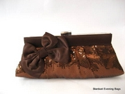 Brown Evening bag with Brown Sequins