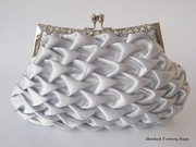Silver Satin Evening Handbag