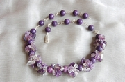 Silver Necklace with Charoite & Amethyst - Product Code NS361149