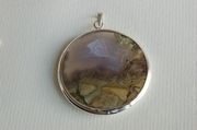 Round Silver Pendant with Agate and Jasper - Product Code PS34398