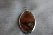 Oval Silver Pendant with Moss Brown Agate - Product Code PS33481