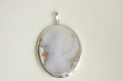 Oval Silver Pendant with White Agate  - Product Code PS331110