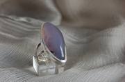Ellipsoidal Silver Ring with Blue Smoky Agate - Size P - Product Code RS33311