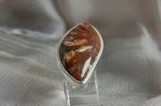 Ellipsoidal Silver Ring with Multicolor Jasper  - Size Q 1/2 - Product Code RS38223