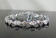Elegant Silver and Marcasite Bracelet with Cubic Zirconia