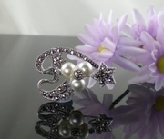 Marcasite Silver and Pearl Brooch