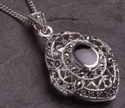 Silver and Marcasite Locket with inset Black Onyx