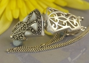 Mother of Pearl Silver and Marcasite Locket / Pomander