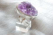 Silver Ring with Crystallised Amethyst  - Size R 1/2 - RS31343