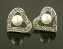 Marcasite Silver Heart Pearl Earrings