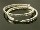 Large Silver and Marcasite Hoop Earrings