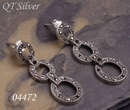 Silver and Marcasite Oval Link Long Drop Earrings
