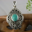 Silver and Marcasite Locket with inset Turquoise
