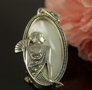 Silver & Marcasite Mother of Pearl Art Nouveau Style Pendant