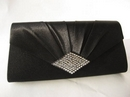 Olga Berg Evening Bag in Black Satin
