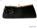 Black Clutch Bag with Satin Bow