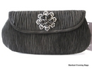Black Evening Bag in Pleated Satin