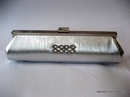 Silver Satin Clutch Bag