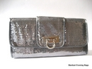 Silver Grey Sequin Clutch Bag - Evening Purse