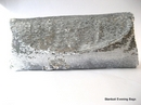 Silver Clutch Bag with Shimmering Sequins