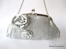 Pleated Silver Satin Evening Handbag