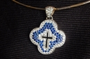 White Gold Pendant (Crucifix) with Diamonds & Sapphires - Product Code PWG303201